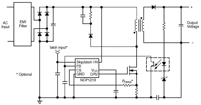 NCP1219: PWM Controller with Adjustable Skip Level and External Latch Input